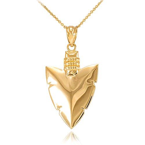 High Polish 14K Yellow Gold Serrated Arrowhead Pendant Necklace  22