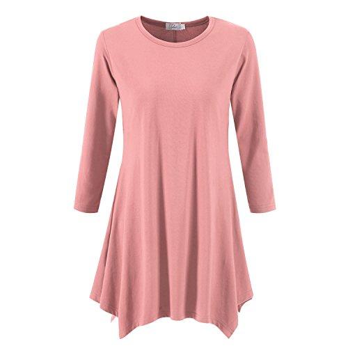 Topdress Women's Swing Tunic Tops 3/4 Sleeve Loose T-Shirt Dress Blush Pink M