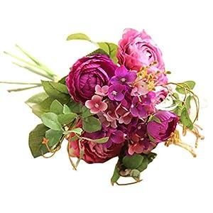 Juner Artificial Fake Flowers, Pastoral Style Bouquet Flowers Home Decoration Wedding Decorative Flowers (Purple) 97