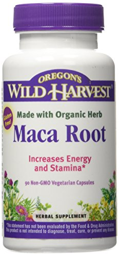 Oregon's Wild Harvest Maca Root Organic Supplement, 90 Count vegetarian capsules, 1230mg organic raw Maca root