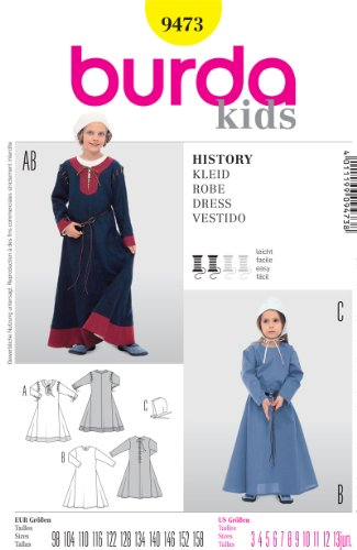 [BURDA 9473 GIRL'S HISTORICAL LONG DRESS (SIZE 3-13jun,) SEWING PATTERN] (Quaker Costumes)