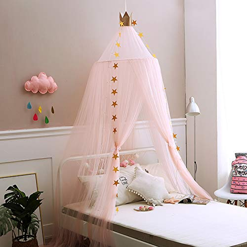 Mengersi Bed Canopy Curtains Mosquito Net Stars for Girls Toddlers and Teens
