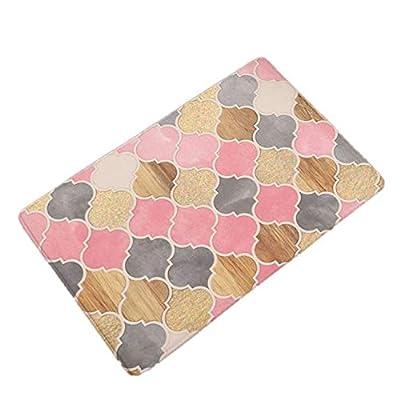 Chery-Story Creative Geometry Flowers Print Flannel Doormat Kitchen Carpets Bedroom Rugs Bathroom Anti-Slip Mats Home Decor