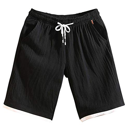 Allywit Men's Shorts Casual Classic Fit Drawstring Summer Beach Linen Shorts with Elastic Waist and Pockets Black