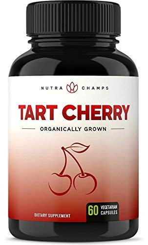 Pain Inflammation Muscle (Organic Tart Cherry Concentrate - 1000mg Premium Supplement - Uric Acid Cleanse - Cherry Juice Extract Powder Pills for Inflammation, Pain Relief, Muscle Recovery & Sleep - 60 Vegan Capsules)