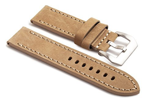 WatchAssassin Genuine Leather Tan/Beige Watch Strap incl Buckle (Beige Leather Strap Watch)