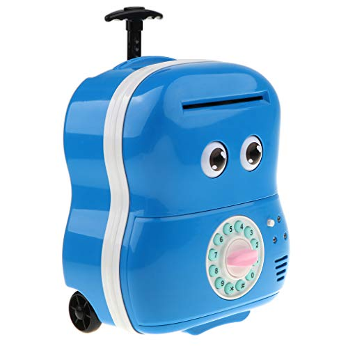 ctronic Automatic Trolley Luggage Suitcase ATM Cash Roller Piggy Bank Coin Saving Box Kids Toy Birthday Gift- Blue (Electronic Trolley)