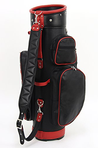 ツェラーゴルフ キャディバッグ 9.5インチ対応 ton-9ziegenleder-6-2 ブラック×レッド ヤギ革の商品画像