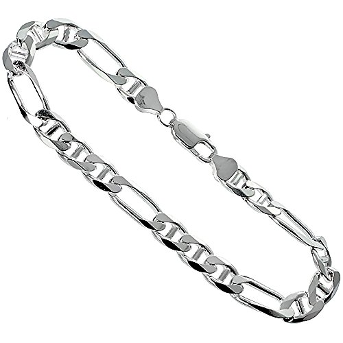 Figarucci Bracelet - Sterling Silver Figarucci Link Chain Bracelet 8mm Beveled Edges Nickel Free Italy, 9 inch