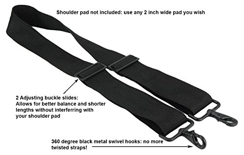 Made in USA 2''W x 60''L Black Poly Web Replacement Shoulder Luggage Travel Bag Strap Black Hardware with No Shoulder Pad by Travel Trends (Image #1)