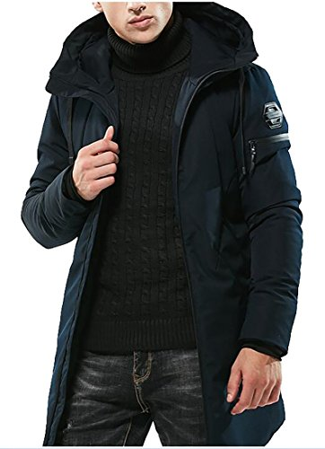 today-UK Mens Thicken Winter Down Mid Length Coats Trench Jacket Hooded Blue