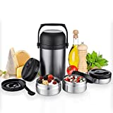 KAAVE Food & Soup Flask'bigJar' - 1.8 Liter | Insulated Stainless Steel Container | Thermal Container with Spoon & 3 separate Bowls | For Hot Lunch, Dinner To Go & for Kids, Babys - BPA Free