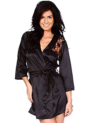 Simplicity Sexy Black Kimono Intimate Lace Sleepwear Robe - 2 Piece Lingerie Set