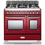 Verona VCLFSGG365DR 36 Classic Gas Range with 2.4 cu. ft. & 1.5 cu. ft. Convection Ovens 5 Sealed Gas Burners Cast-Iron Grates EZ Clean Porcelain Oven Surface and Full-Width Storage Compartment in Gloss