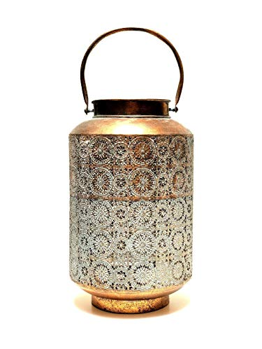 Zenda Imports Candle Lantern Brass Oxidized Copper Color Cylinder Shape Indoor Outdoor 13'' (Lanterns Brass Candles For)