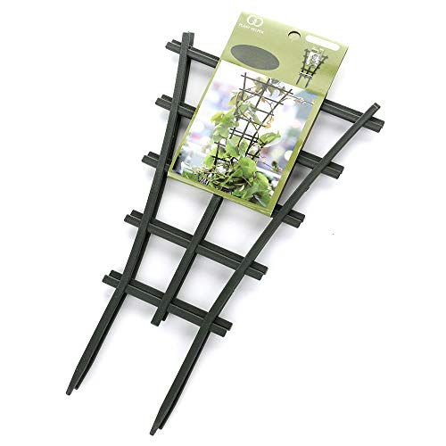 GREENWISH 4pcs 9x3inch Mini Plant Trellis Plastic Garden Plant Support DIY Climbing Trellis Flower Supports Dark Green