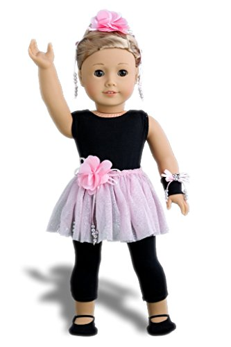 Show Time - 5 piece outfit - Black unitard, pink tutu skirt, ballet slippers, corsage, hair piece - 18 Inch Doll Clothes (doll not included)