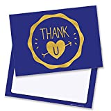 Blue with Gold Thank U Heart with Arrow Thank You Cards - Includes Envelopes (Pack of 10) - by Ruby Ashley