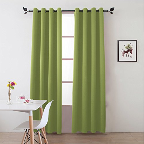 """Floweroom Blackout Curtains Solid Thermal Insulated Panel Energy Efficient Light/Room Darkening Window Treatment Draperies 2 Panels Set for Living room/Bedroom/Dining room 52""""x96"""" Fresh Green"""