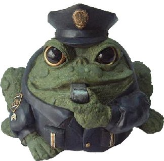 Homestyles Toad Hollow #94087 Figurine Policeman in Cop Uniform with Cap Badge & Whistles Rescue Character Garden Small 5.5