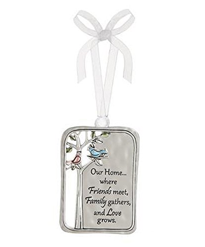Our Home Where Friends Meet Family Gathers and Love Grows Metal Plate Car Charm - By Ganz