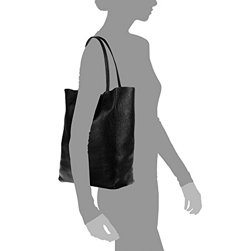 suave 27x37x13 acabado de PELLE Negro ITALY tacto FIRENZE Savage ITALIANA gneuino MADE ARTEGIANI mujer Color VERA mujer shopping cm IN NEGRO bag 5 Bolso auténtica cuero lujo piel Bolso Zg6gqCwA