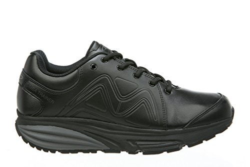 MBT Shoes Women's Simba Trainer Athletic Shoe: Black/Black/Leather 7.5 Medium (D) Lace Mbt Fitness Shoes