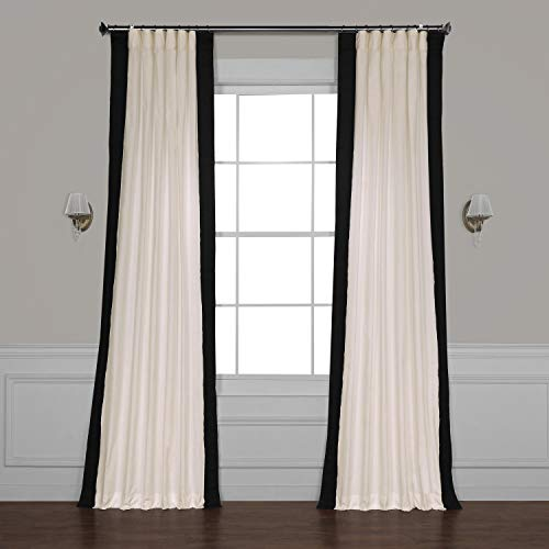 - PRCT-VC1716-108 Vertical Colorblock Panama Curtain, Fresh Popcorn & Black, 50 x 108