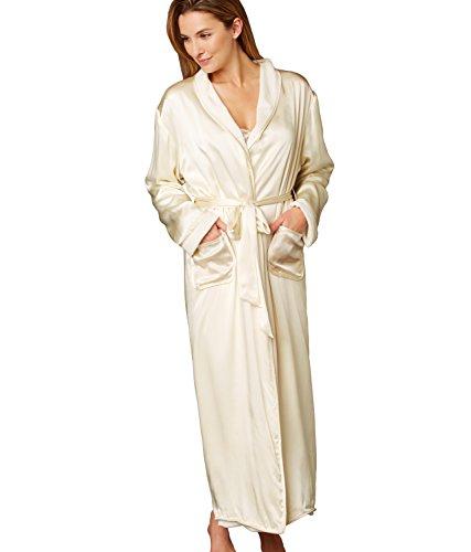 Julianna Rae Women's 100% Silk, Il Cieli Spa Robe, Champagne, (Glamour Nightgown)