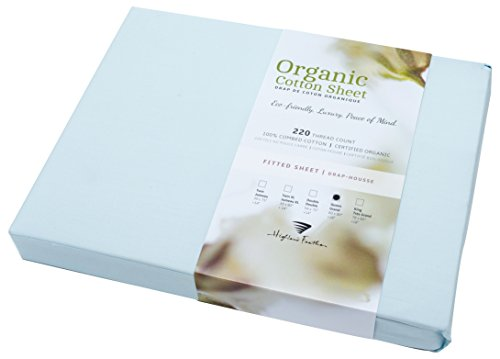 (Highland Feather Organic Cotton Fitted Sheet, King, Blue Frost Color)