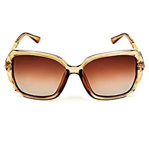 Leckirut Women Shades Classic Oversized Polarized Sunglasses 100% UV Protection Eyewear coffee frame/coffee lens