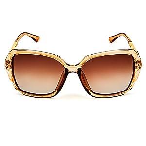 Leckirut Women Shades Classic Oversized Polarized Sunglasses 100% UV Protection Eyewear coffee frame/coffee lens