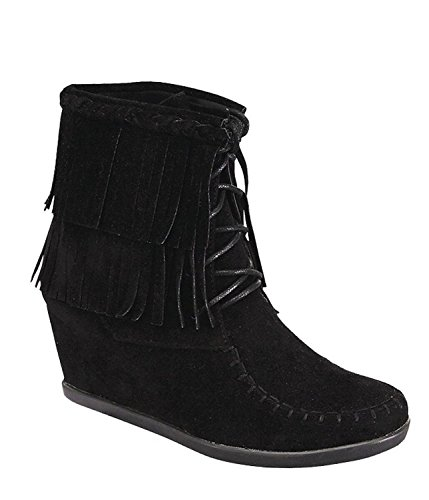 Forever Link Women's Two Layered Tassel Fringe Lace Up Ankle Wedge Bootie Trends New Boots (7.5, Black)