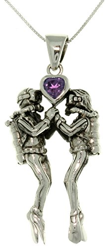 Jewelry Trends Sterling Silver Sea Life Scuba Divers Amethyst Heart Pendant Necklace 18