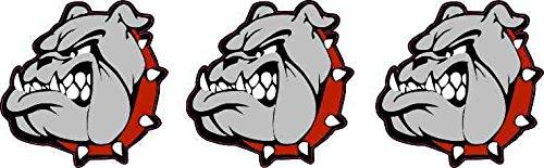 Red Bulldog - StickerTalk [3x] 1.5in x 1.5in Red Collared Bulldog Mascot Stickers School Team Decals by