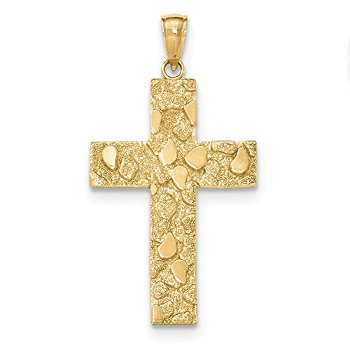 (Lex & Lu 14k Yellow Gold Polished and Textured Nugget Block Style Cross Pendant-Prime)