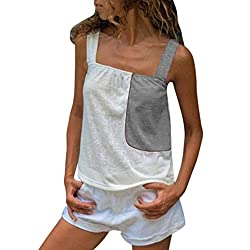 Women Tank Tops Loose Fit Sunyastor Ladies Summer Color Patchwork Sleeveless Strappy Camis Vest Casual Tank Tops Gray