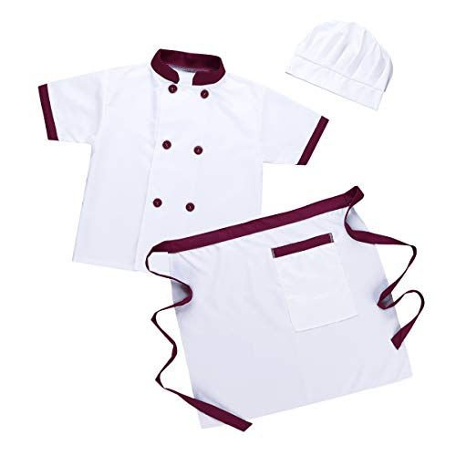 YiZYiF Unisex Kids Child Classic Master Chef Costume Dress up Cosplay Party Short Sleeves Jacket with Apron and Hat 3Pcs Set Burgundy&White -