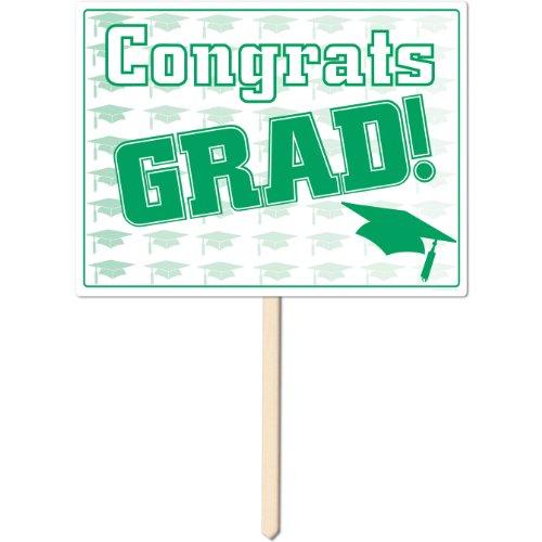 Plastic Congrats Grad Yard Sign (green) Party Accessory  (1 count)]()