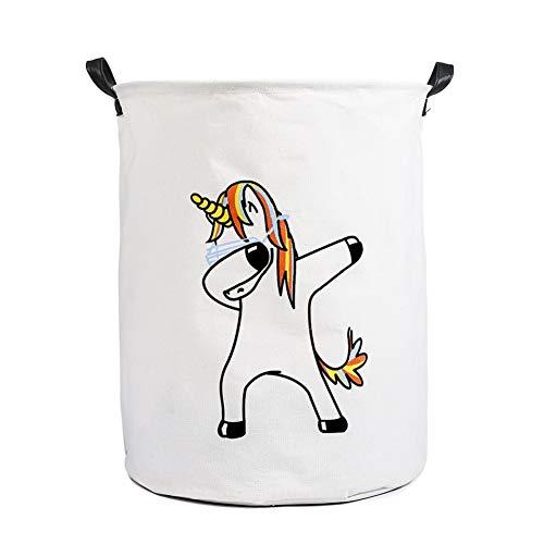 EGOBUY Storage Bin, Canvas Organizer Basket for Laundry Hamper, Toy Bins, Gift Baskets, Bedroom, Clothes, Baby Nursery Unicorn Hamper Dancing Unicorn