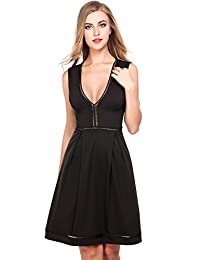 Meaneor Womens Sexy Sleeveless Fit-and-Flare Skater Cocktail Party Prom Dress