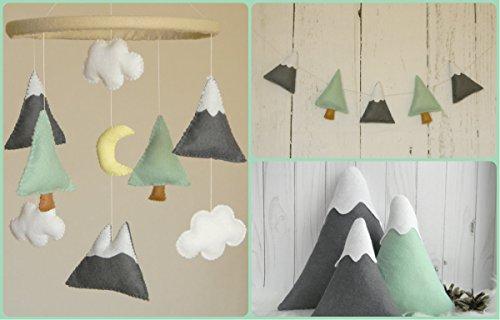 BIG SET - Mountains Baby Mobile Felt Mountains and Tree garland, Mountain pillows Mountain nursery decor, Mint Gray nursery decor by RainbowSmileShop