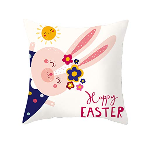 (Easter Pillow Case Rabbit Bunnies with Eggs Pillow Cover, Cotton Linen Sofa Bed Throw Cushion Cover Decoration 18