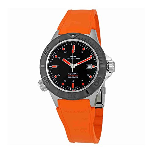 Glycine Combat Sub Aquarius Black Dial Orange Rubber Mens Watch