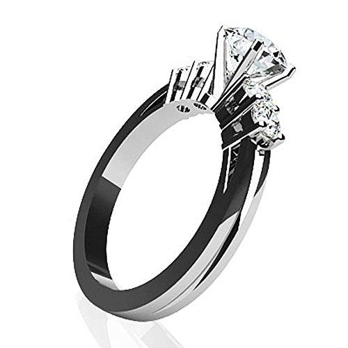 Bande de canal de Or blanc 14K Diamant Bague de fiançailles