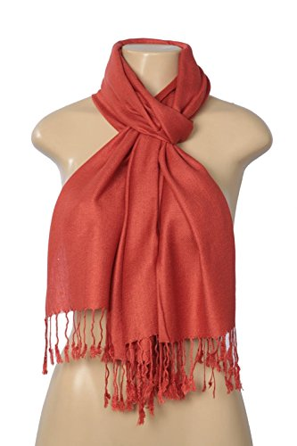 Orange Mens Brick Wool - Fashion Scarf Unisex-Adult's New Solid Pashmina Silk Blend Wrap Scarf, Brick