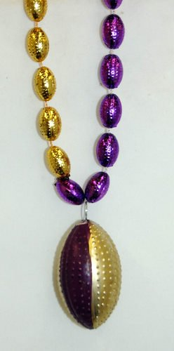 36 INCH PURPLE AND GOLD FOOTBALL MARDI GRAS BEAD (DOZEN)