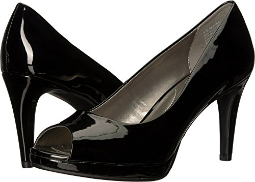 Leather Toe Peep Platform Pump (Bandolino Women's Baccanti Black Patent 8 M US)