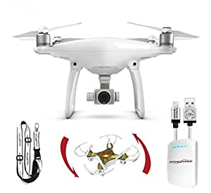 DJI Phantom 4 Bundle with iPhone Cable, Battery Bank, Remote Lanyard and Mini Drone