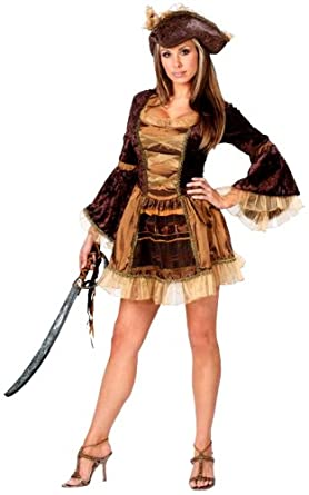 Fun World Womenu0027s Sassy Victorian Pirate Brown M/L 10-14 Costume  sc 1 st  Amazon.com & Amazon.com: Fun World Womenu0027s Sassy Victorian Pirate Costume: Clothing